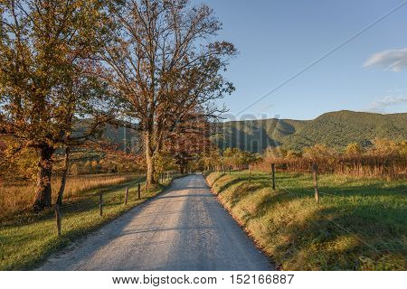Fall colors on enchanted road at Smoky Mountains National Park during sunset
