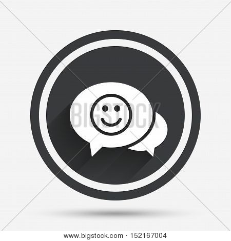 Chat Smile icon. Happy face chat symbol. Circle flat button with shadow and border. Vector