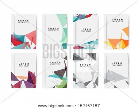 Set of Abstract Flyer with Colorful Geometric Mesh Modern Backgrounds - EPS10 Brochure Design Templates