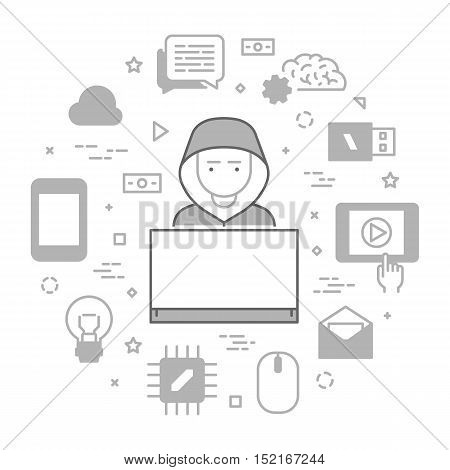 Vector concept of hacking and cyber criminals online. Open path.