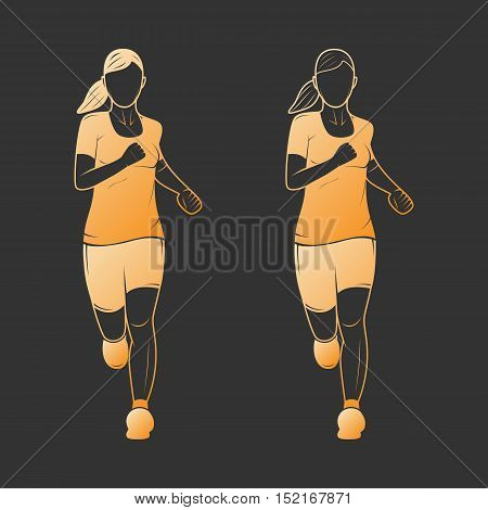 Gold vector women runners silhouettes on a black background.
