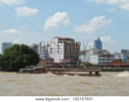 Abstract blur Long tail boat serving for tourist to travel around the Chao Phraya river