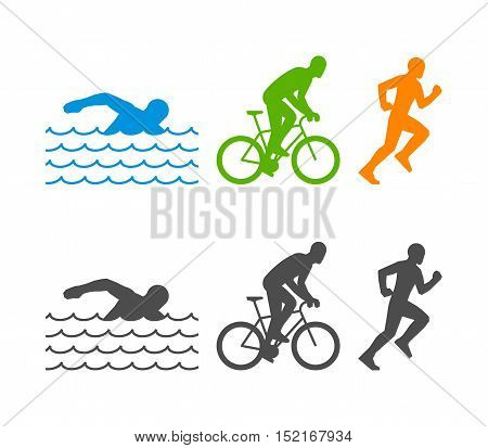 Vector flat logo triathlon. Figures triathletes on a white background. Swimming cycling and running symbol.
