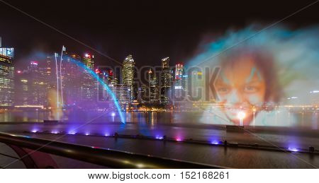 SINGAPORE - APRIL 15: Laser show in Singapore Marina Bay on April 15, 2016 in Singapore.