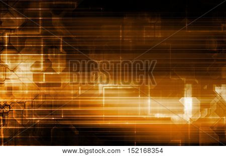 Science Background With Glowing Techno Lines Art