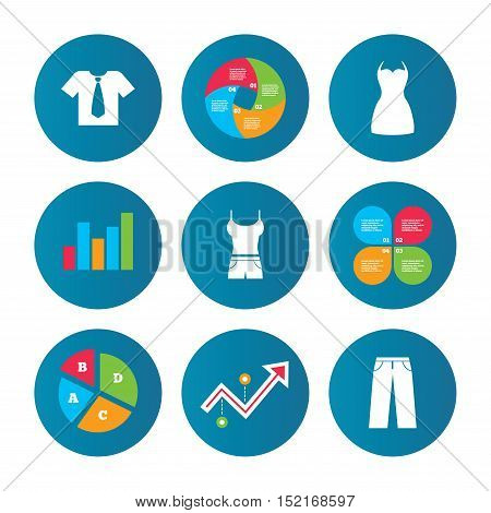 Business pie chart. Growth curve. Presentation buttons. Clothes icons. T-shirt with business tie and pants signs. Women dress symbol. Data analysis. Vector