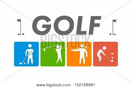 Silhouettes of figures golfers. Vector golf logo.