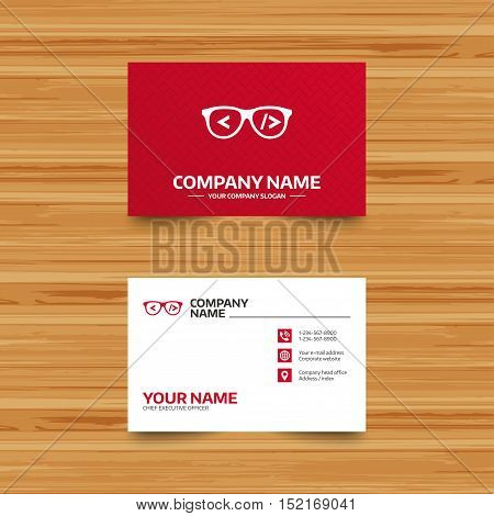 Business card template. Coder sign icon. Programmer symbol. Glasses icon. Phone, globe and pointer icons. Visiting card design. Vector