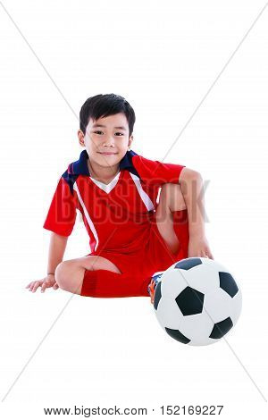 Young Asian Soccer Player With Football Smiling. Isolated On White.