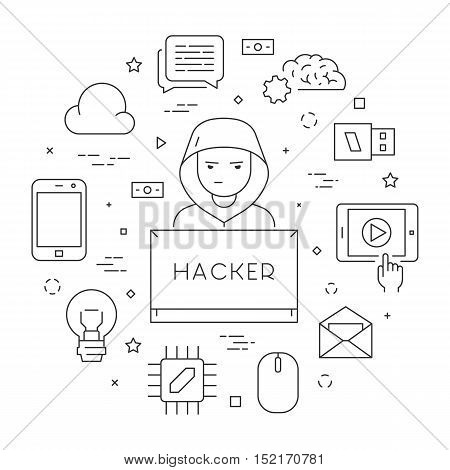 Hackers and cyber criminals online. Concept of hacking and internet crimes. Open path.