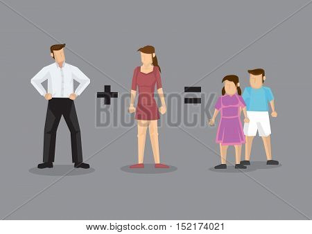 Father plus mother equal children. Creative vector illustration for family concept isolated on grey background.
