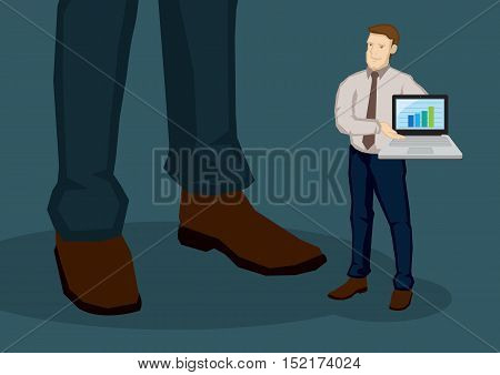 Cartoon businessman carrying a laptop showing growth bar chart to a giant. Vector business illustration for corporate business presentation concept isolated on plain background.