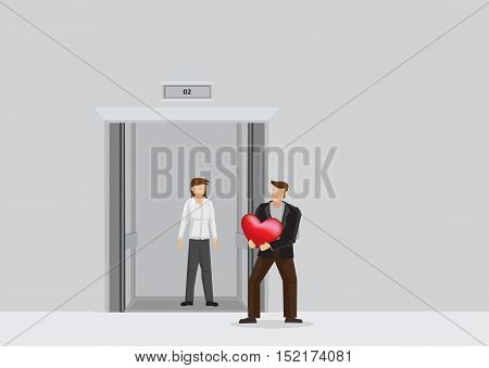 Romantic man surprises girlfriend with heart shape gift at elevator lobby. Vector illustration on love and relationship concept isolated on plain background.