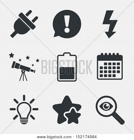 Electric plug icon. Light lamp and battery half symbols. Low electricity and idea signs. Attention, investigate and stars icons. Telescope and calendar signs. Vector