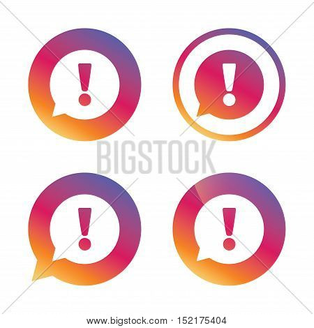 Exclamation mark sign icon. Attention speech bubble symbol. Gradient buttons with flat icon. Speech bubble sign. Vector