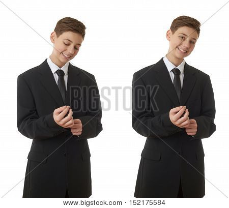 Set of cute teenager boy in back business suit correcting it over white isolated background, half body, future career concept