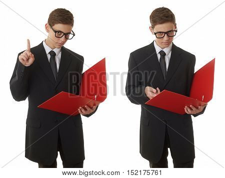 Set of cute teenager boy in back business suit with a red folder over white isolated background, half body, future career concept