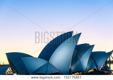 Sydney Australia - July 3 2016: Sydney Opera House at blue hour. Roof of famous Australian sightseeing and tourist attraction - Sydney Opera house