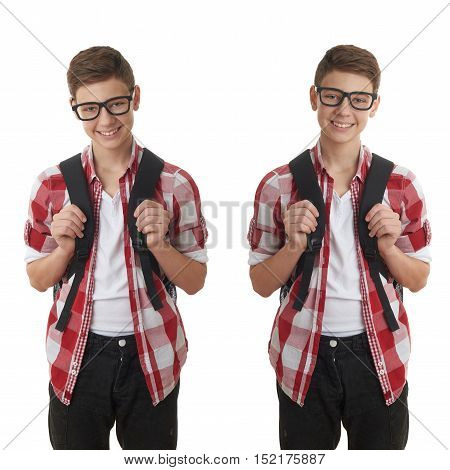 Set of cute teenager boy in red checkered shirt and glasses with school bag over white isolated background, half body, as school, education concept