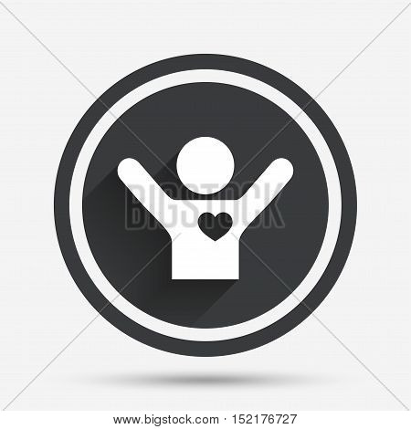 Fans love icon. Man raised hands up sign. Circle flat button with shadow and border. Vector