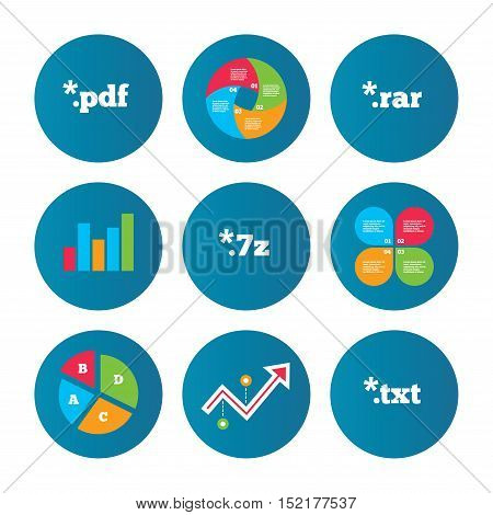 Business pie chart. Growth curve. Presentation buttons. Document icons. File extensions symbols. PDF, RAR, 7z and TXT signs. Data analysis. Vector