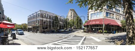 180 degree downtown panorama of Asheville, North Carolina with no recognizable people