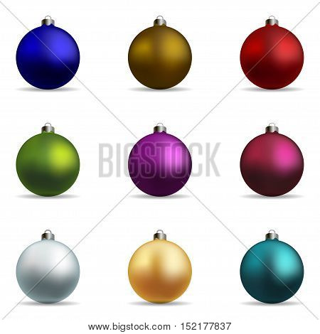 Set. Colorful christmas balls on a white background vector illustration