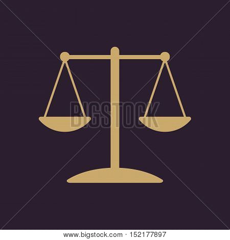 The scales icon.  Weigher symbol. Flat Vector illustration