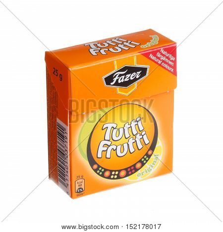 Stockholm, Sweden - August 31, 2014: One package of 25 g candy Tutti Frutti manufactured by Fazer for the Swedish market isolated on white.brand
