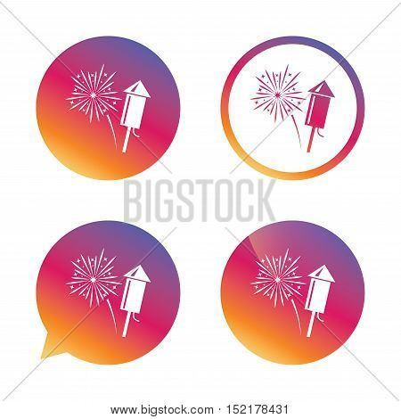 Fireworks with rocket sign icon. Explosive pyrotechnic symbol. Gradient buttons with flat icon. Speech bubble sign. Vector
