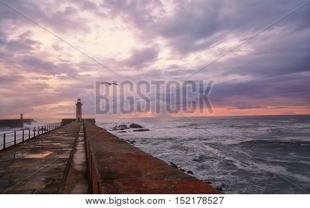 Lighthouse on the Atlantic coast in the city of Porto