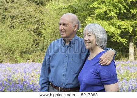 Senior couple take a walk in woodland full of beautiful springtime bluebells.