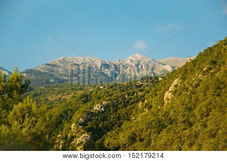 Balkan Mountains of Montenegro with a blue sky in the background. Nobody
