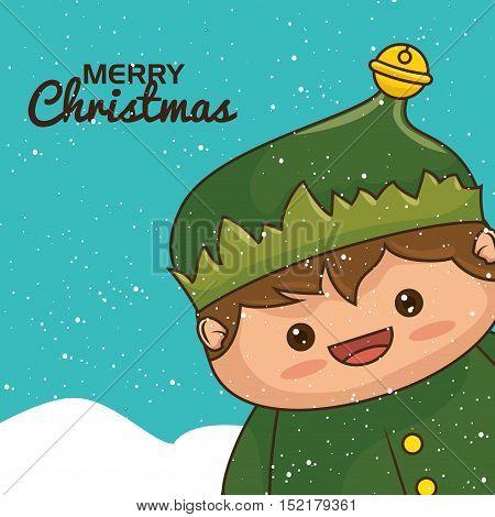 christmas elf character kawaii style vector illustration design
