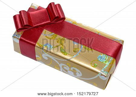 Wrapped gift with red ribbon and bow isolated on white background