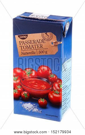 Stockholm, Sweden - February 20, 2014: A pack with 500 grams of natural tomato passata with the Coop brand for the Swedish market isolated on white background.