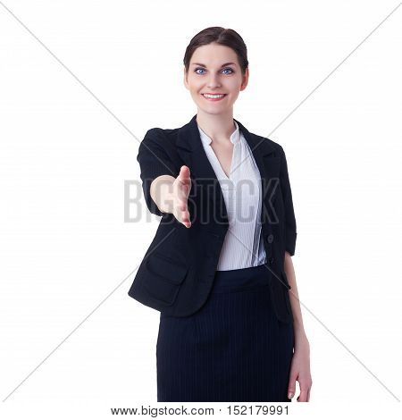 Smiling businesswoman standing over white isolated background, business, education, office, shake hand concept