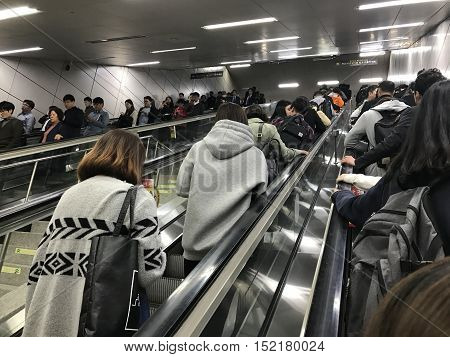 SEOUL, KOREA - A crowded subway station during rush hour traffic. Photo taken in October, 2016.
