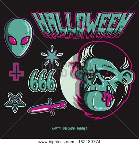 Halloween Party  pack. Available in EPS. Hand Drawing to Digital.