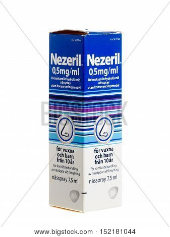 Stockholm, Sweden - January 5, 2014: A package containing a vial with 7.5 ml nasal spray Nezeril 0.5 mg / ml of active ingredient oxymetazoline for the Swedish market. Nezeril produced by GlaxoSmithKline Consumer Healthcare.
