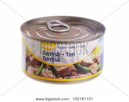 Stockholm, Sweden - January 3, 2014: Tin with tuna 140 grams of oil for the Swedish Danish and Norwegian market marketed by the food chain Coop.