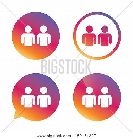 Friends sign icon. Social media symbol. Gradient buttons with flat icon. Speech bubble sign. Vector
