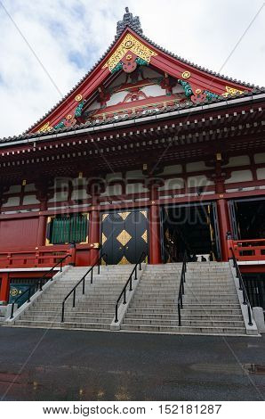 Tokyo Japan - August 29 2016: Senso-ji Asakusa temple side entrance. Asakusa Kannon temple is famous travel destination and one of the main tourist attractions in Tokyo