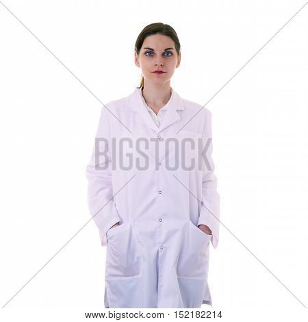 Female doctor assistant scientist in white coat over white isolated background with arms in pockets, healthcare, profession, science and medicine concept