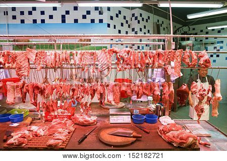 HONG KONG  - 26 JANUARY, 2016: a meat stall in Hong Kong. Hong Kong is an autonomous territory on the Pearl River Delta in East Asia.