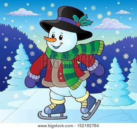 Skating snowman theme image 2 - eps10 vector illustration.