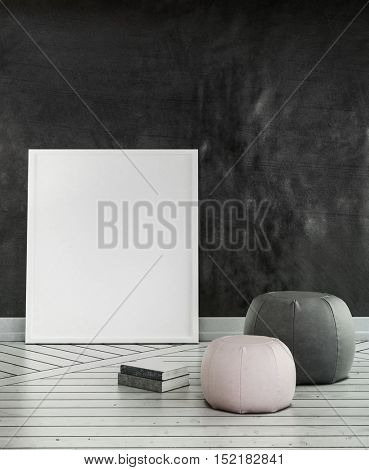 Cushions on wooden floor with large blank canvas leaning against dark wall. 3d Rendering.
