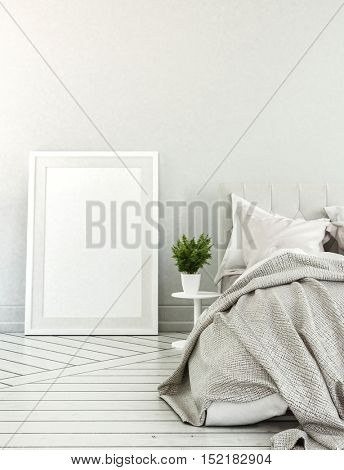 Bedroom with neutral color scheme, large empty picture frame and messy bed beside potted plant. 3d Rendering.