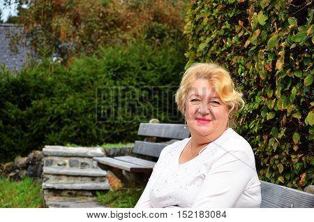 Happy woman closeup portrait with copy space