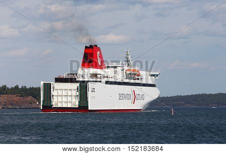 Nynashamn, Sweden - July 15, 2013: M/S Gotland departure from Nynashamn with destination Visby.